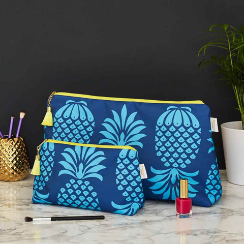 Blue Pineapple Wash and Makeup Bag Set by Penelope Hope