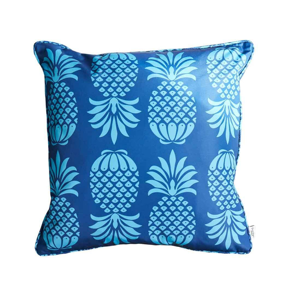 Blue Pineapple Square Waterproof Cushion by Penelope Hope