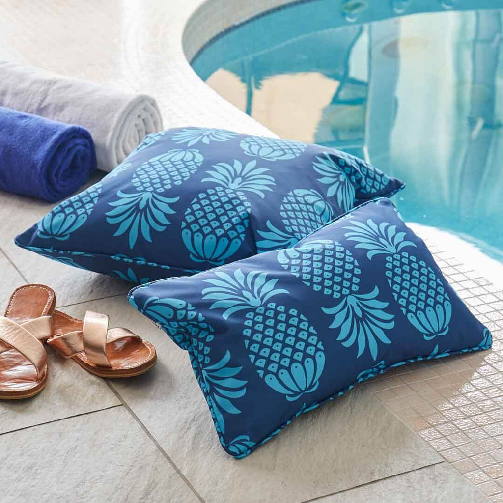 Blue Pineapple Outdoor Cushion by Penelope Hope