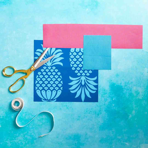 Outdoor Fabric Swatch in Pina Colada Blue Mix Pineapple Design by Penelope Hope