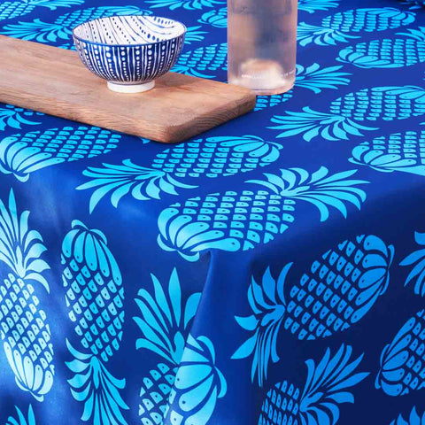 Outdoor Fabric Tablecloth in Pina Colada Blue Mix Pineapple Design by Penelope Hope