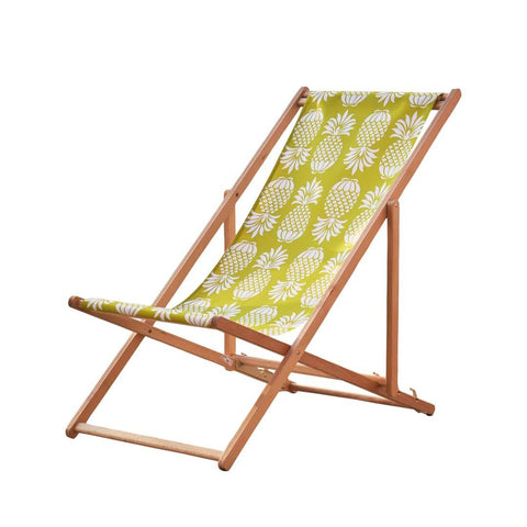 Beach Deckchair in Yellow Pineapple print by Penelope Hope