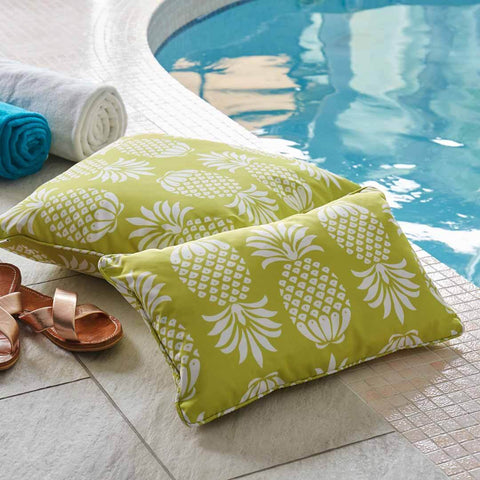 Yellow Pineapple Outdoor Cushion by Penelope Hope
