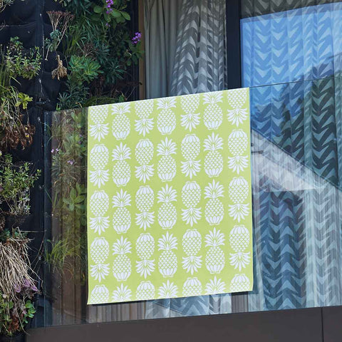 Yellow Pineapple Outdoor Fabric by Penelope Hope