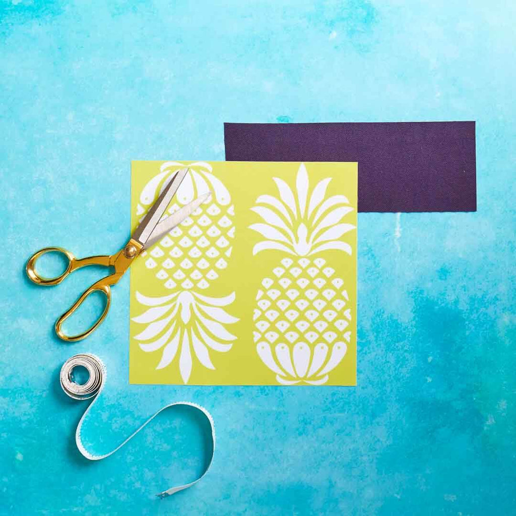 Outdoor Fabric Yellow Pineapple Swatch by Penelope Hope
