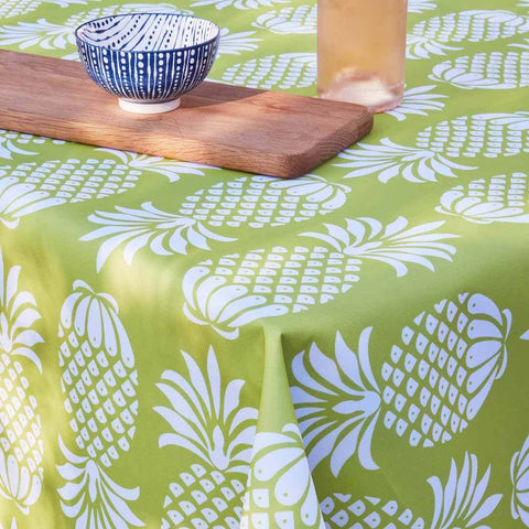 Yellow Pineapple Outdoor Fabric Tablecloth by Penelope Hope