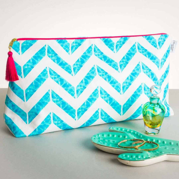 Chevron Aqua Wash Bag by Penelope Hope