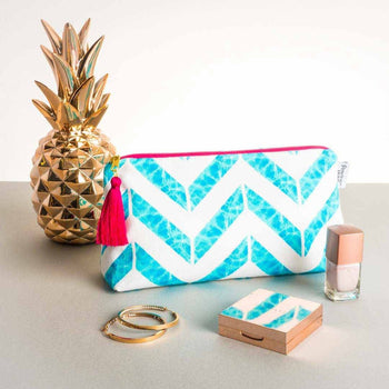 Chevron Makeup Bag Aqua | Penelope Hope