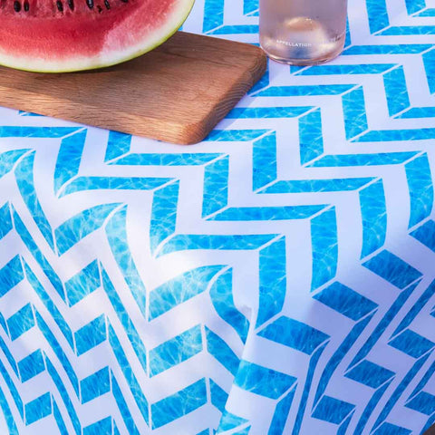 Outdoor Fabric Tablecloth in Blue Chevron Print by Penelope Hope