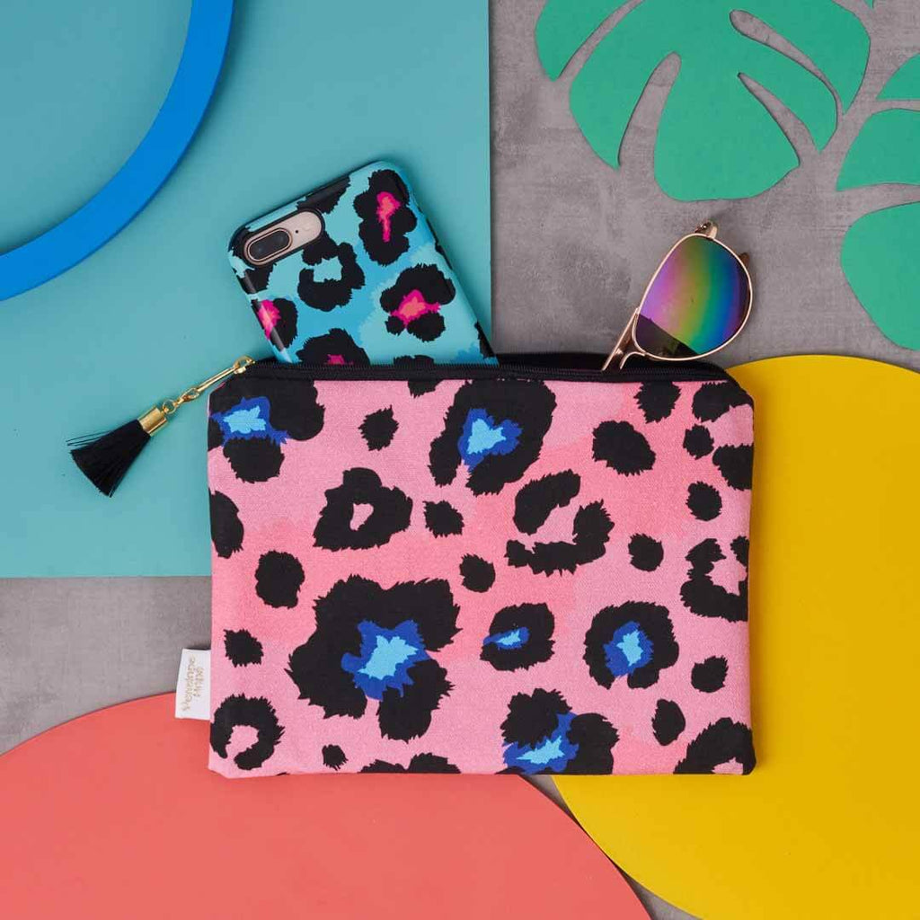 Pink Leopard Print Pouch with black tassel