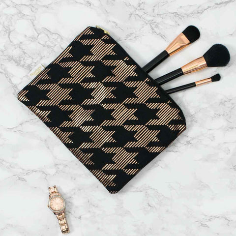 Sketchy Dogtooth Black & Copper Pouch by Penelope Hope