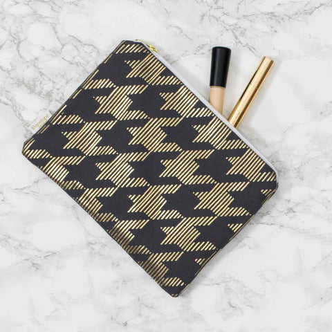Sketchy Dogtooth Pewter Grey & Gold Pouch by Penelope Hope