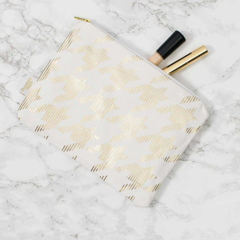 Sketchy Dogtooth White & Gold Pouch by Penelope Hope