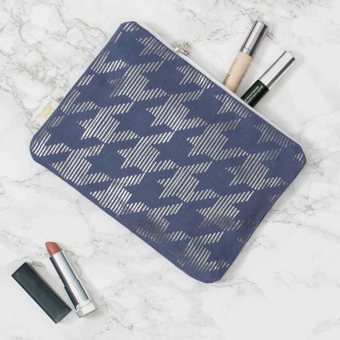 Metallic Pouch in Blue & Gunmetal