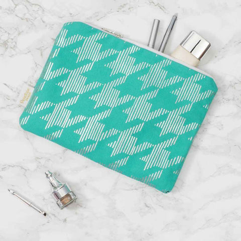 Sketchy Dogtooth Teal & Silver Pouch by Penelope Hope