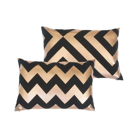 Chunky Chevron Metallic Cushion in Black and Copper by Penelope Hope