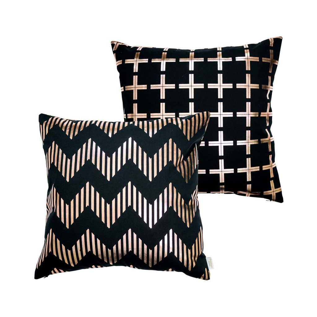 Line Chevron Metallic Cushion in Black and Copper by Penelope Hope