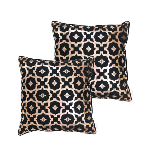 Moroccan Metallic cushion in Black and Copper by Penelope Hope