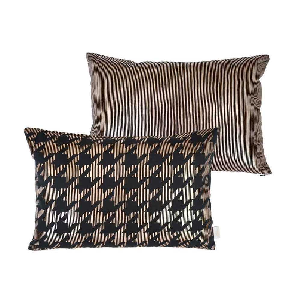 Sketchy Dogtooth Metallic Cushion in Black and Copper FRONT & BACK