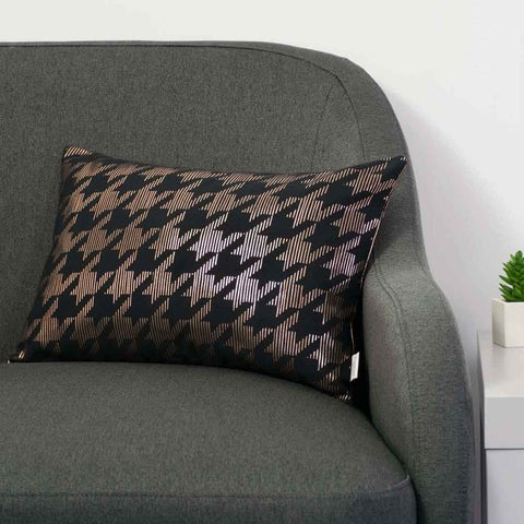 Sketchy Dogtooth Metallic Cushion in Black and Copper by Penelope Hope