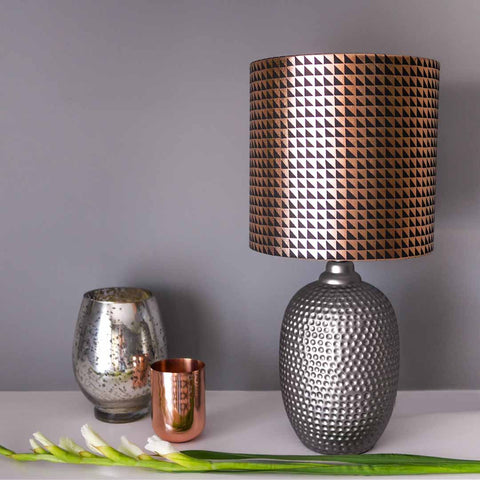 Metallic Triangles Lampshade in Black and Copper by Penelope Hope