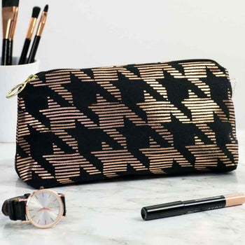 Sketchy Dogtooth Black & Copper Makeup Bag