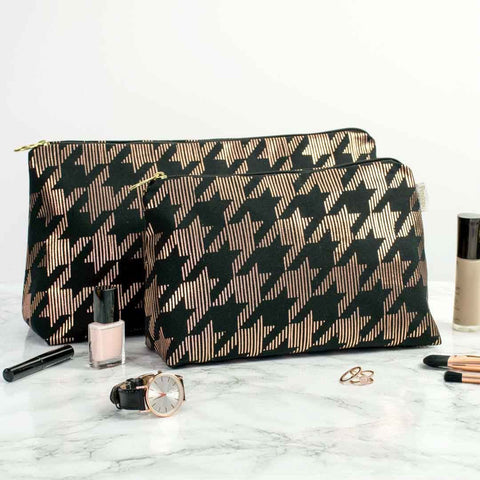 Dogtooth Metallic Wash Bag in Black and Copper by Penelope Hope