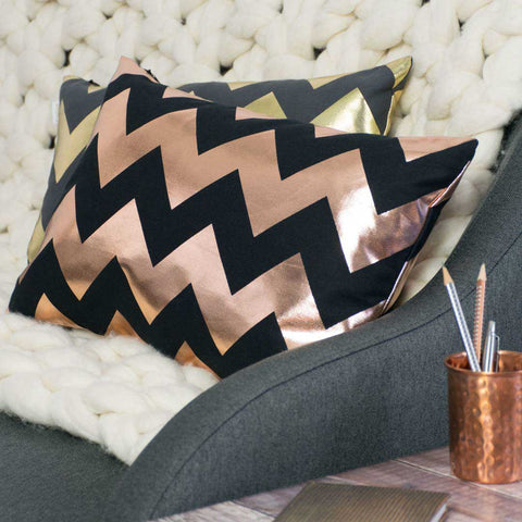 Chunky Chevron Rectangular Metallic Cushions in by Penelope Hope