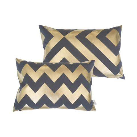 Chunky Chevron Metallic Cushion in Pewter and Gold FRONT & BACK