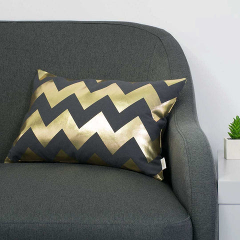 Chunky Chevron Metallic Cushion in Pewter and Gold by Penelope Hope