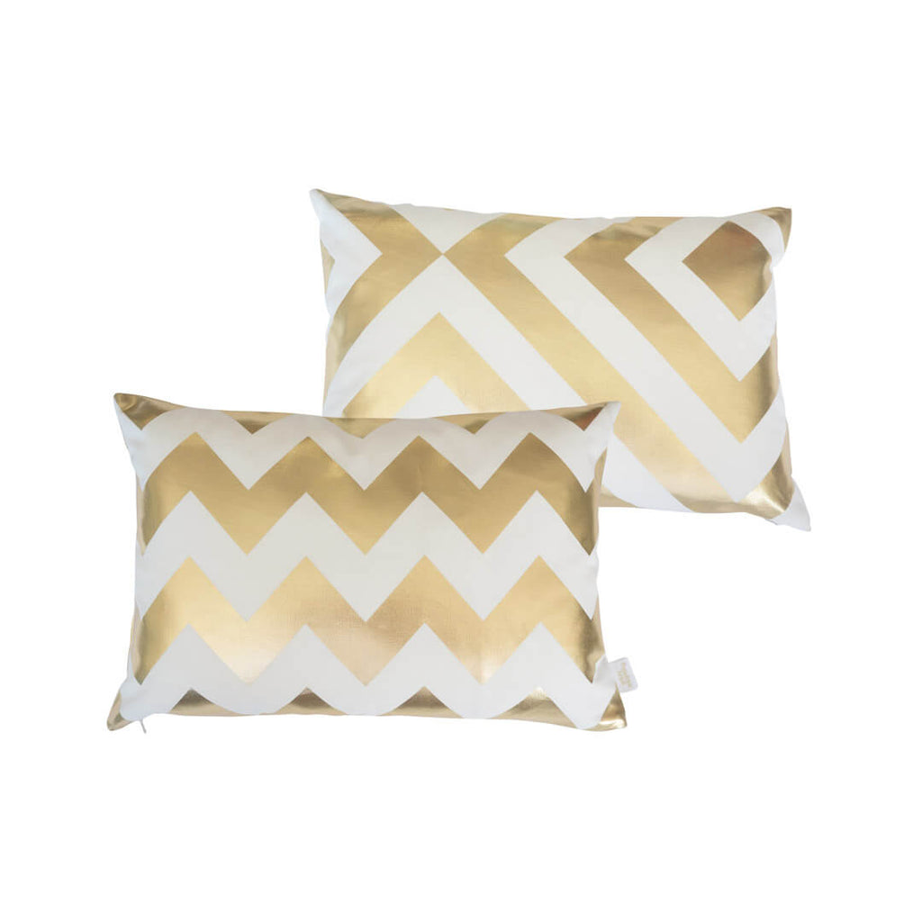 Chunky Chevron Metallic Cushion in White and Gold FRONT & BACK