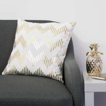 Line Chevron Metallic Cushion in White and Gold by Penelope Hope