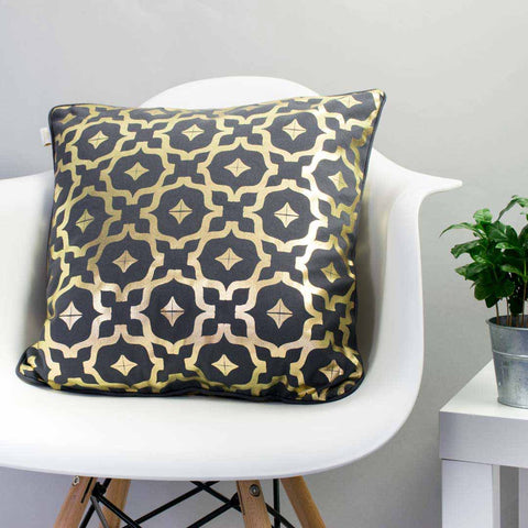 Moroccan Metallic Cushion in Pewter and Gold by Penelope Hope