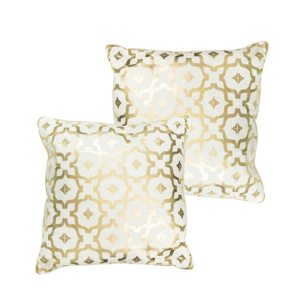 Moroccan Metallic Cushion in White and Gold by Penelope Hope