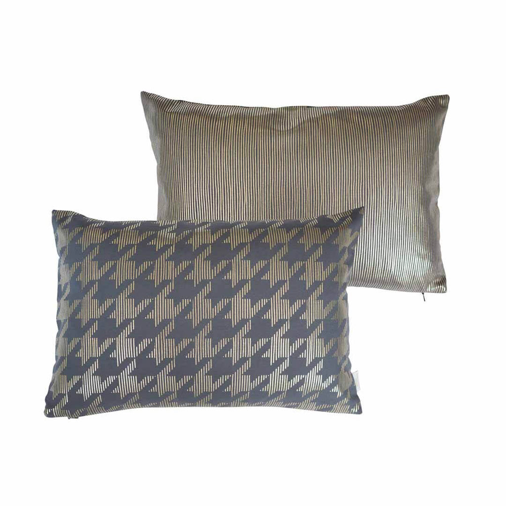Sketchy Dogtooth Metallic Cushion in Pewter and Gold FRONT & BACK