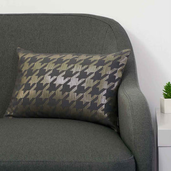 Sketchy Dogtooth Metallic Cushion in Pewter and Gold by Penelope Hope