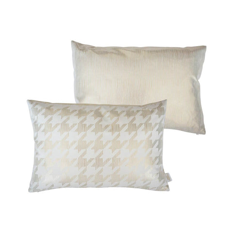 Sketchy Dogtooth Metallic Cushion in White and Gold FRONT & BACK