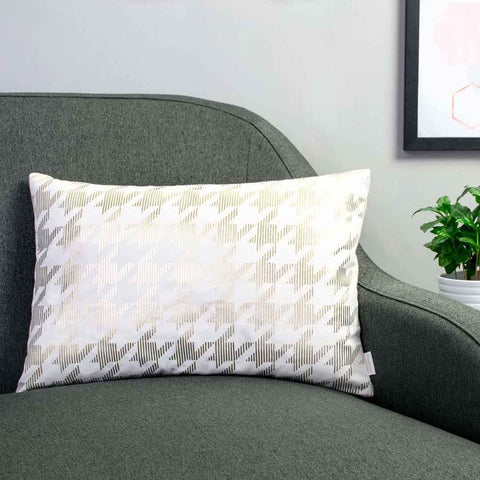Sketchy Dogtooth Metallic Cushion in White and Gold by Penelope Hope