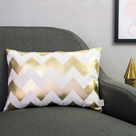 Chunky Chevron Metallic Cushion in White and Gold by Penelope Hope
