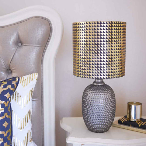 Metallic Triangles Lampshade in Grey and Gold by Penelope Hope