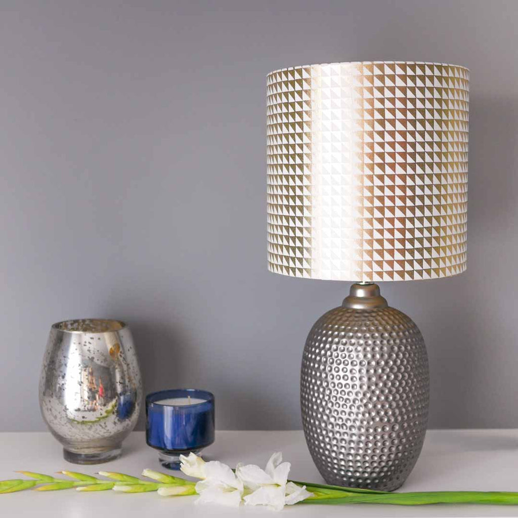 Metallic Triangles Lampshade in White and Gold by Penelope Hope