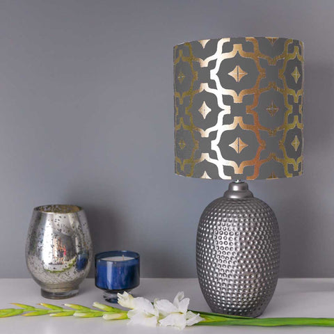Moroccan Lampshade in Grey and Gold by Penelope Hope
