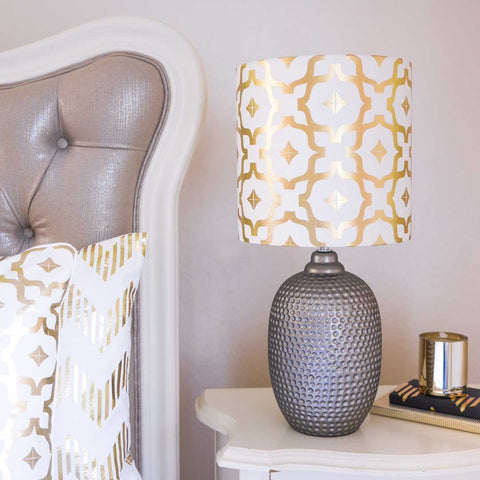 Moroccan Metallic Lampshade in White and Gold by Penelope Hope