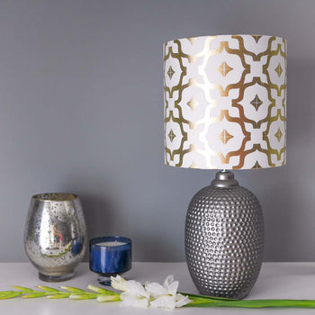 Metallic collection lampshades penelope hope moroccan metallic lampshade in white and gold by penelope hope aloadofball Image collections