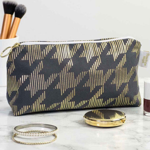 Dogtooth Metallic Makeup Bag in Grey and Gold by Penelope Hope