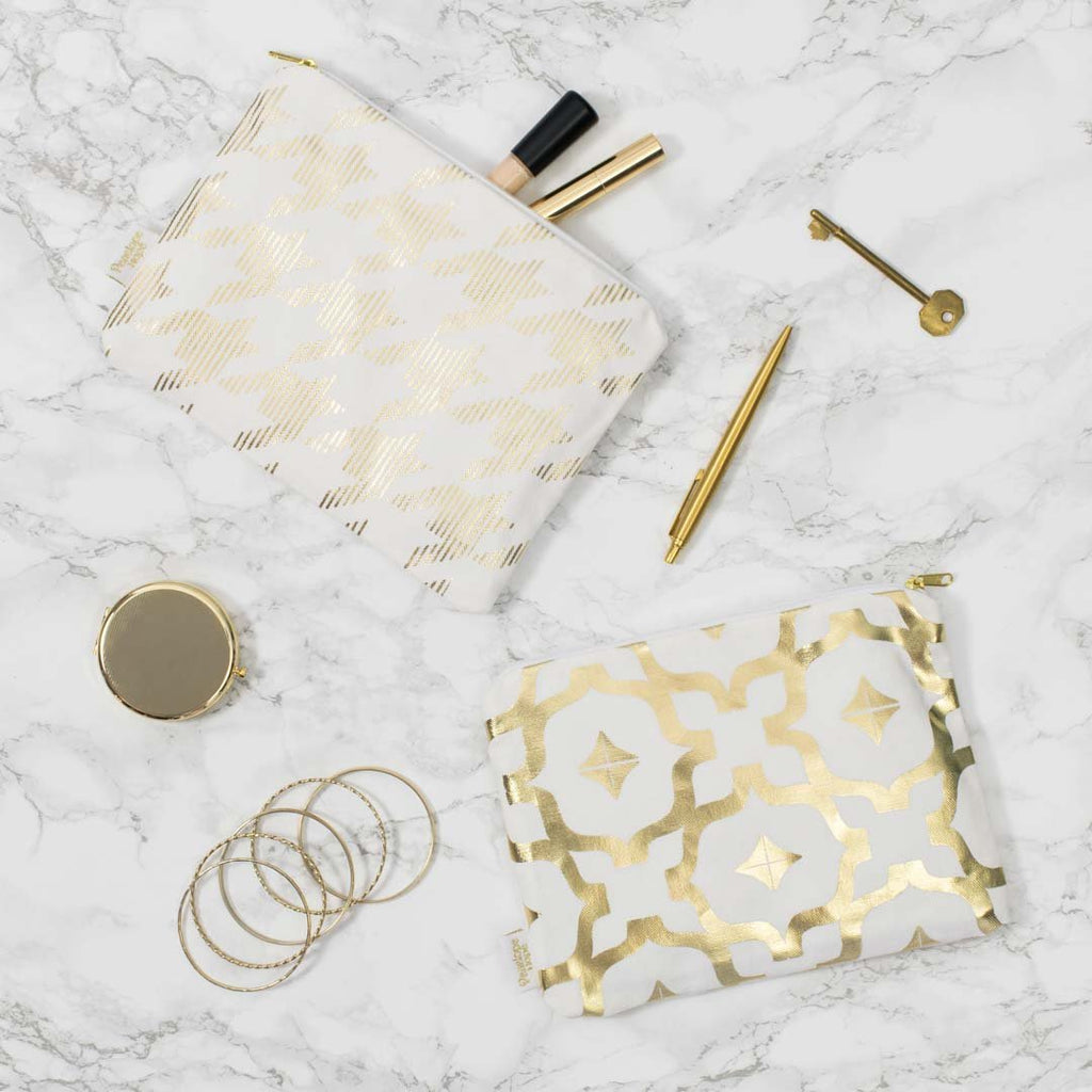 Metallic Pouch in White and Gold by Penelope Hope