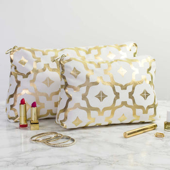 Moroccan Metallic Wash Bag in White and Gold by Penelope Hope
