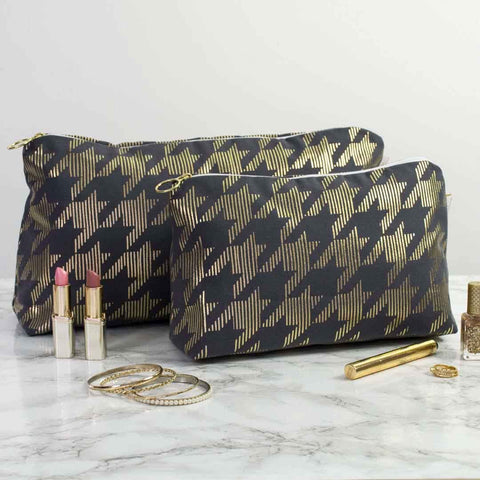 Dogtooth Metallic Wash Bag in Grey and Gold by Penelope Hope