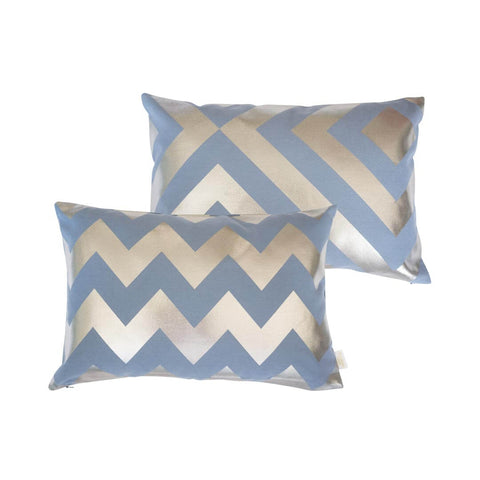 Chunky Chevron Metallic Cushion in Blue and Gunmetal -FRONT & BACK
