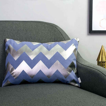 Chunky Chevron Metallic Cushion in Blue and Gunmetal by Penelope Hope